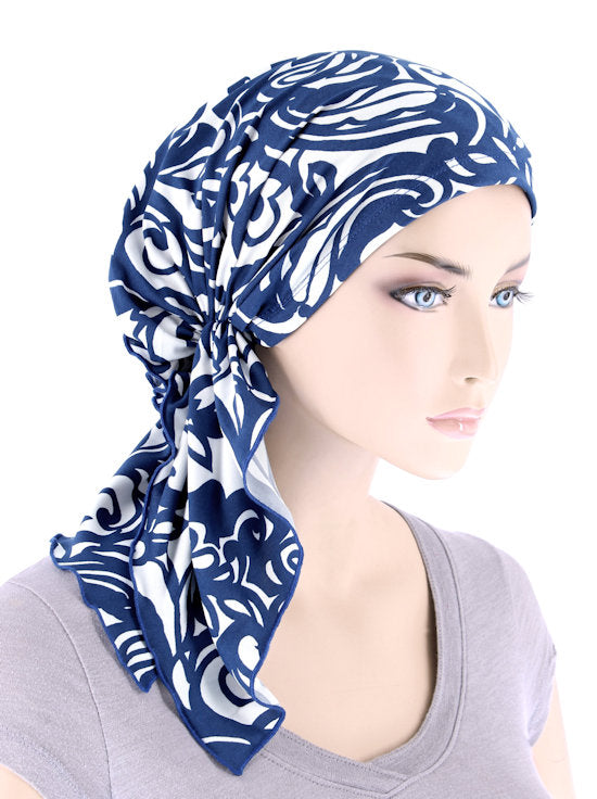 BELLA-761#The Bella Scarf Royal Blue Swirl