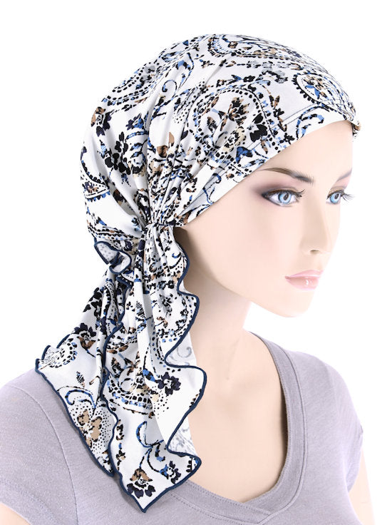 BELLA-763#The Bella Scarf Blue Beige Dainty Floral