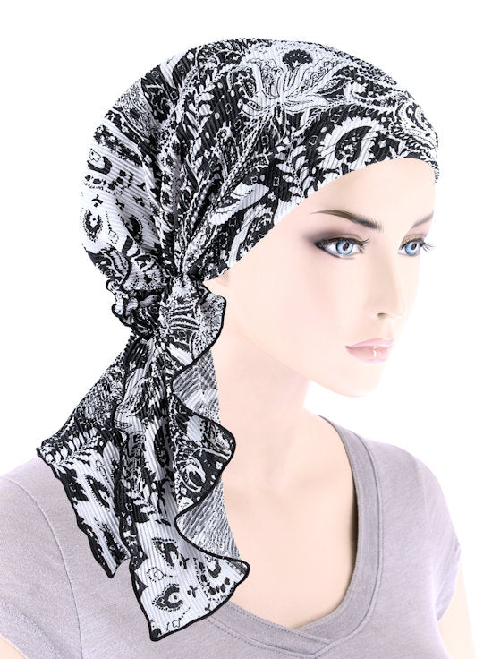 BELLA-769#The Bella Scarf Plisse Black White Paisley