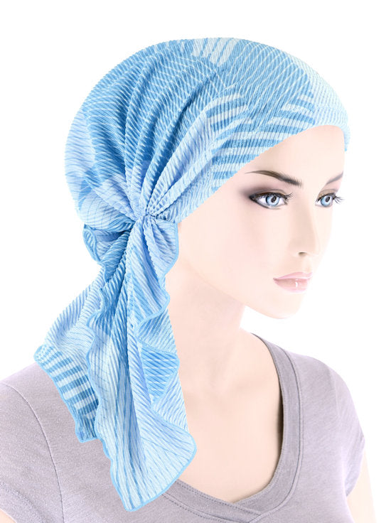 BELLA-771#The Bella Scarf Plisse Patchwork Blue