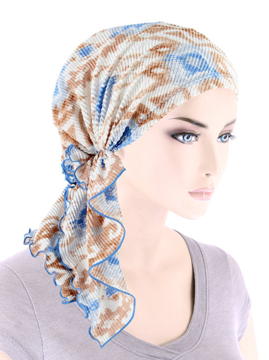 BELLA-772#The Bella Scarf Plisse Ikat Blue Beige