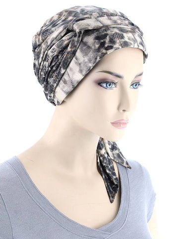 WPS-871#Chemo Head Wrap Scarf in Leopard Brown with Shimmer
