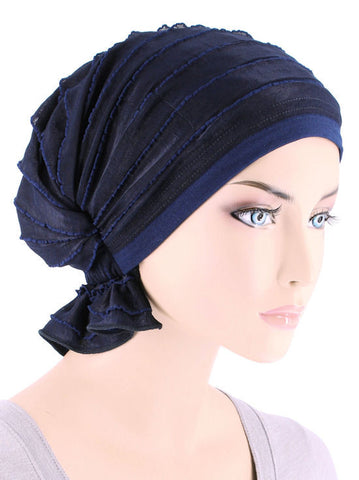 ABBEY-428#The Abbey Cap in Ruffle Navy