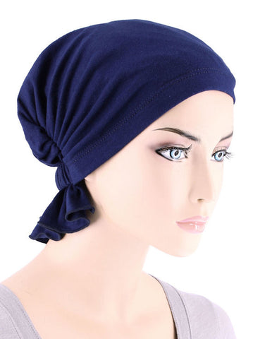 ABBEY-578#The Abbey Cap in Navy Blue Cotton Knit
