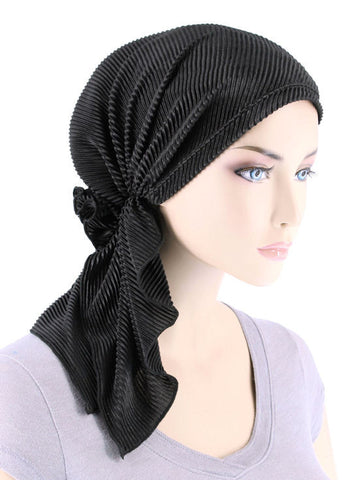 BELLA-735#The Bella Scarf Plisse Black