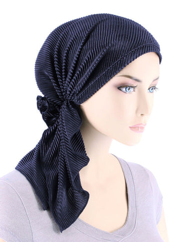 BELLA-736#The Bella Scarf Plisse Navy Blue