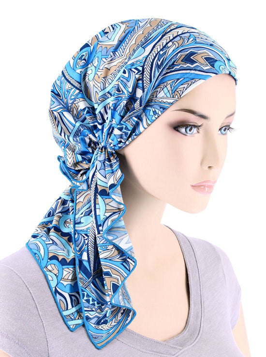 BELLA-744#The Bella Scarf Beige Blue Abstract