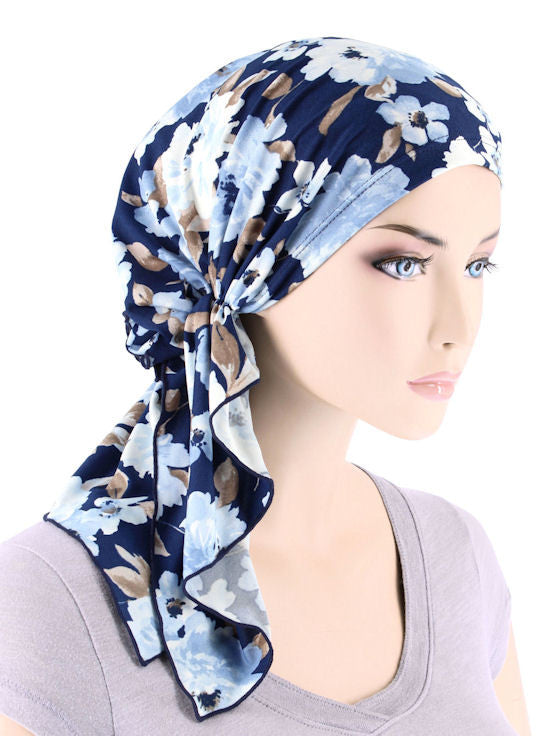 BELLA-745#The Bella Scarf Navy Blue Water Floral