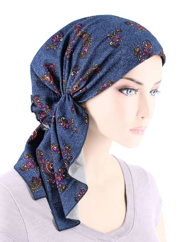 BELLA-748#The Bella Scarf Denim Swirl Floral Multi