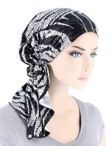 BELLA-749#The Bella Scarf Black White Swirl