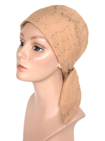 cancer head scarves eyelet cotton scarf beige