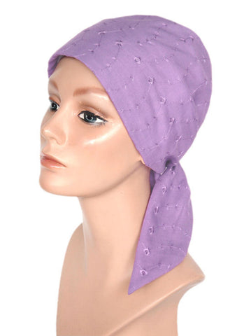 cancer head scarves eyelet cotton scarf lilac
