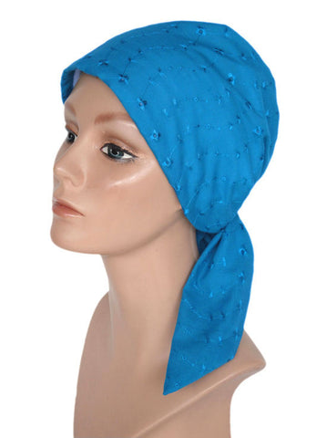 cancer head scarves eyelet cotton scarf turquoise blue