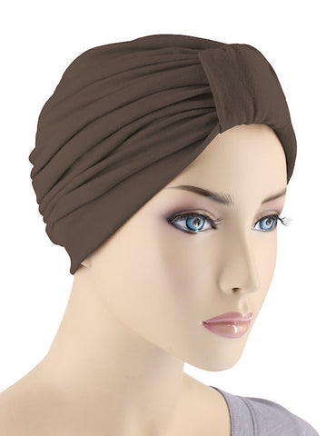 GKT-BROWN#Classic Cotton Turban in Brown