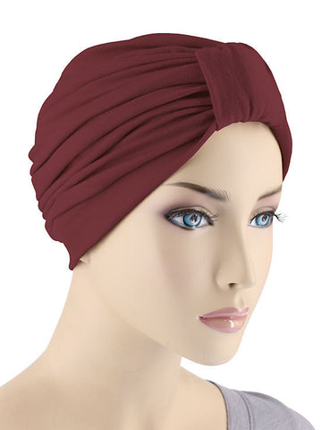 GKT-WINE#Classic Cotton Turban in Wine