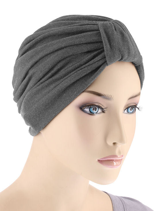 GKT-CHARCOAL#Classic Cotton Turban in Charcoal Gray