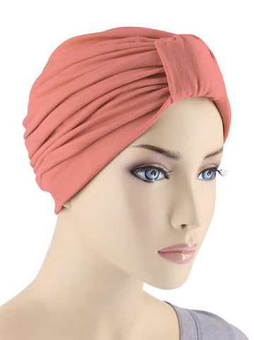 GKT-CORAL#Classic Cotton Turban in Coral Pink