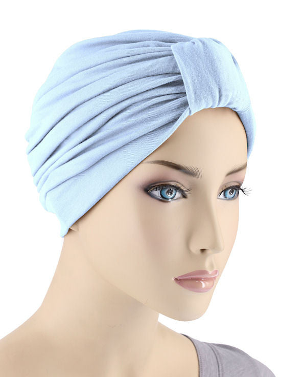 GKT-LTBLUE#Classic Cotton Turban in Light Blue
