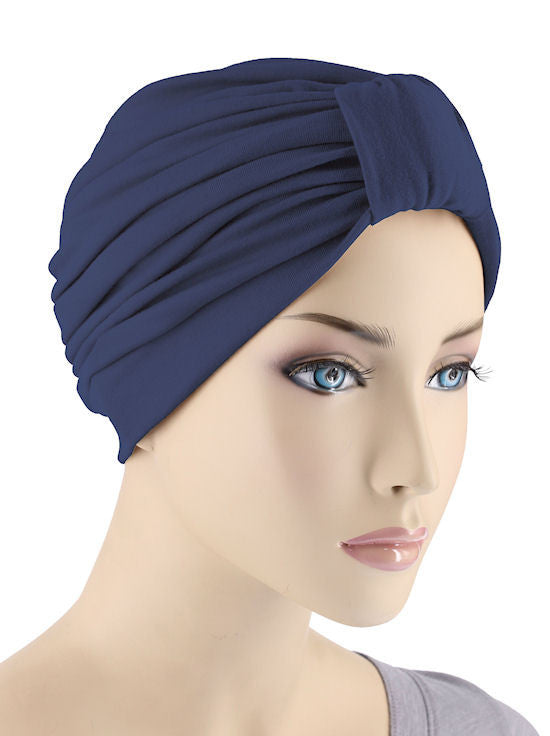 GKT-NAVY#Classic Cotton Turban in Navy Blue