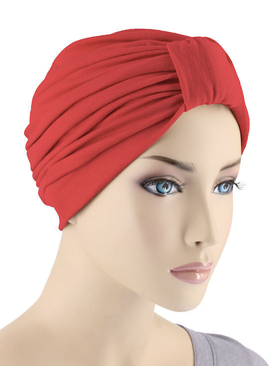 GKT-RED#Classic Cotton Turban in Red
