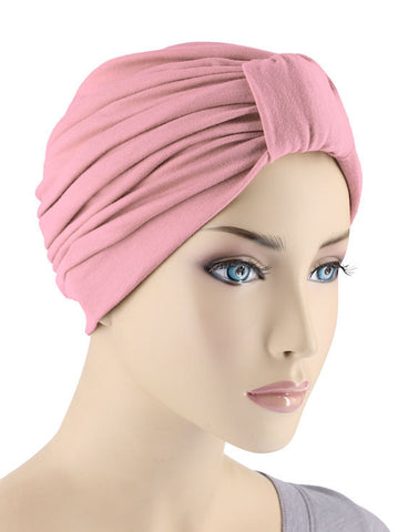 GKT-ROSE#Classic Cotton Turban in Rose Pink