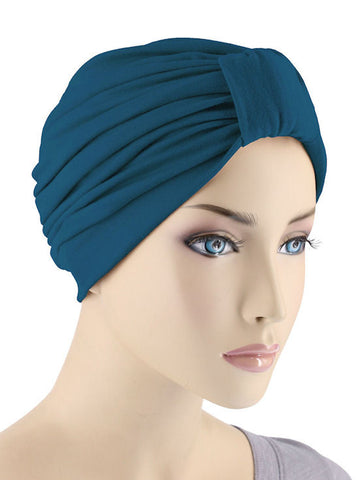 GKT-TEAL#Classic Cotton Turban in Teal Blue