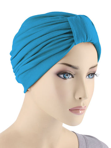 GKT-TURQB#Classic Cotton Turban in Turquoise Blue