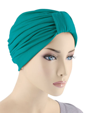 GKT-TURQG#Classic Cotton Turban in Turquoise Green