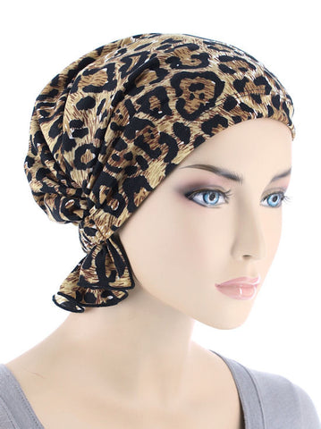 chemo beanie abbey cap in leopard brown knit 610