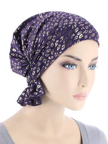 chemo beanie abbey cap in purple with gold leopard 611
