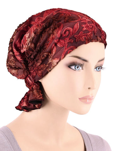 ABBEY-618#The Abbey Cap in Crushed Velour Red Floral Burnout