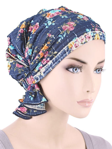 ABBEY-620#The Abbey Cap in Ruffle Royal Blue Floral