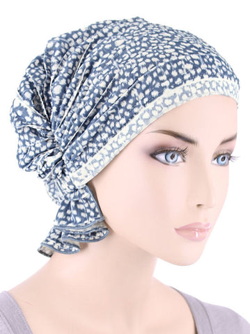 ABBEY-621#The Abbey Cap in Ruffle light Blue Animal Spot