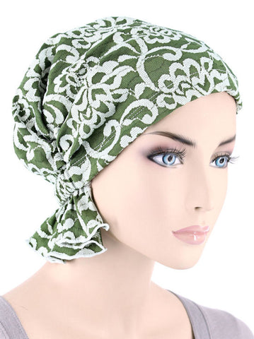 ABBEY-622#The Abbey Cap in Green White Floral Paisley