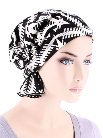 ABBEY-645#The Abbey Cap in Geometric Black and White