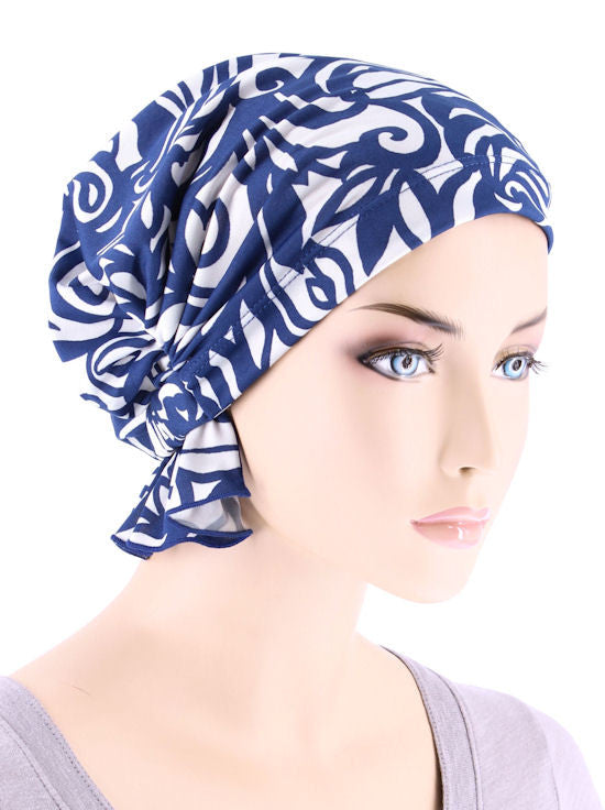 ABBEY-647#The Abbey Cap in Blue White Swirl