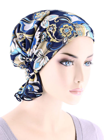 ABBEY-648#The Abbey Cap in Peacock Blossom Blue