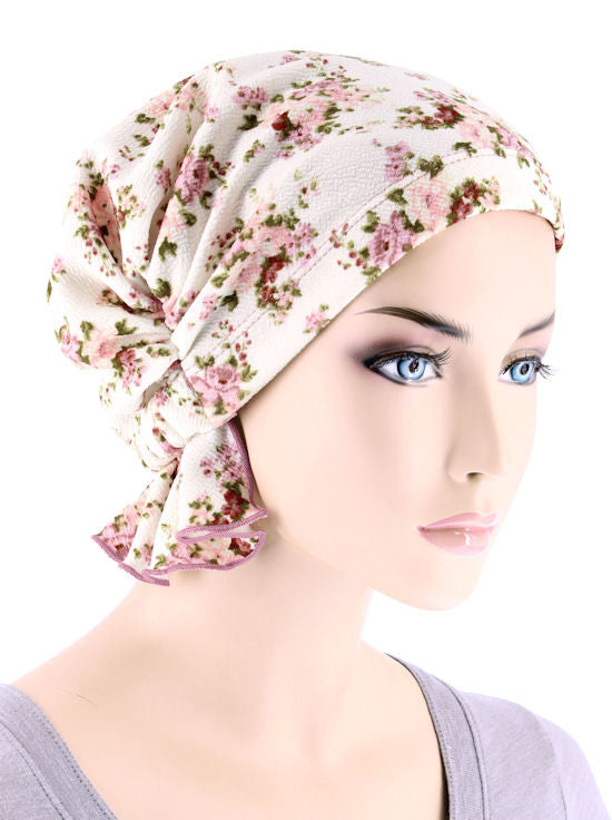 ABBEY-650#The Abbey Cap in Ivory Rose Floral