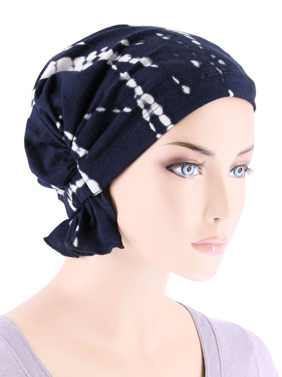 ABBEY-651#The Abbey Cap in Tye-Dye Navy Blue