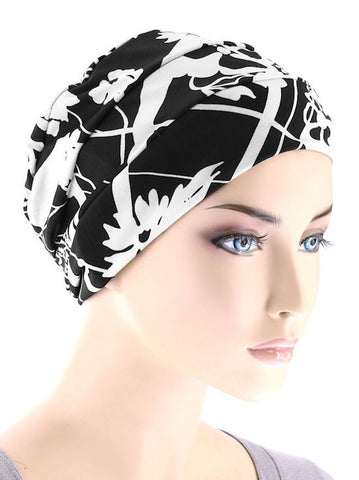 CKC-105#Chemo Cloche Cap in Black and White Floral