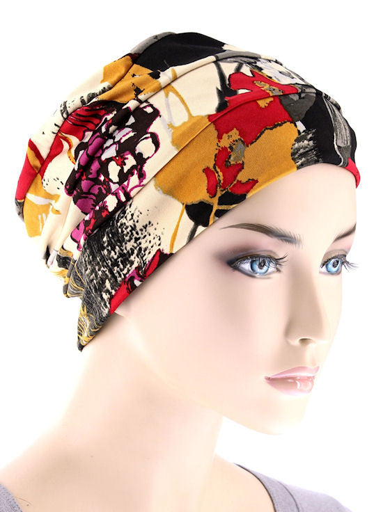 CKC-108#Chemo Cloche Cap in Harvest Floral