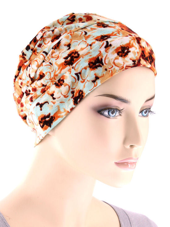 chemo cloche cap in vintage floral turban plus wholesale