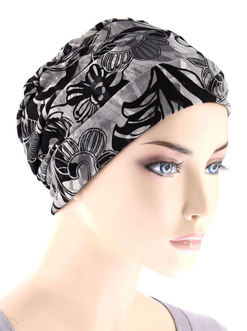CKC-112#Chemo Cloche Cap in Black Butterfly Floral