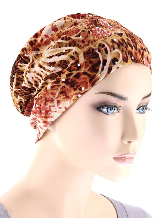 CKC-115#Chemo Cloche Cap in Sequin Beige Animal Floral