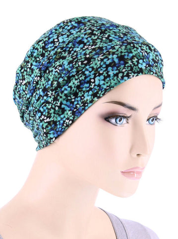 CKC-119#Chemo Cloche Cap in Green Blue Petite Floral