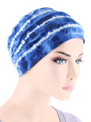 CKC-120#Chemo Cloche Cap in Blue Tie Dye Stripe
