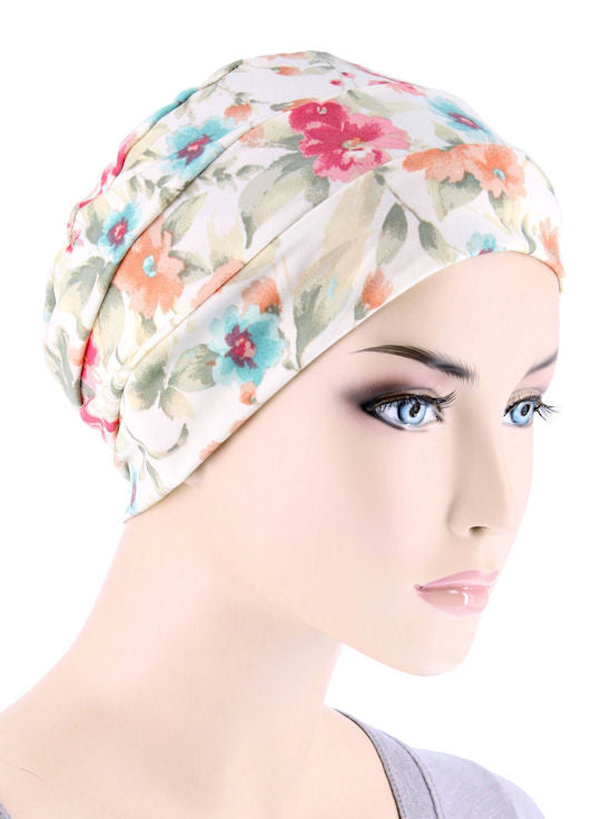 CKC-122#Chemo Cloche Cap in Dainty Spring Floral