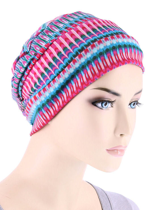 CKC-125#Chemo Cloche Cap in Hot Pink Tie Dye Stripe