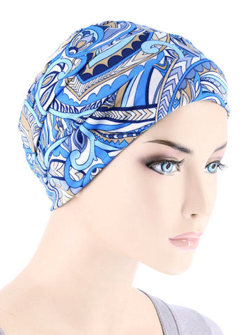 CKC-126#Chemo Cloche Cap in Beige Blue Abstract