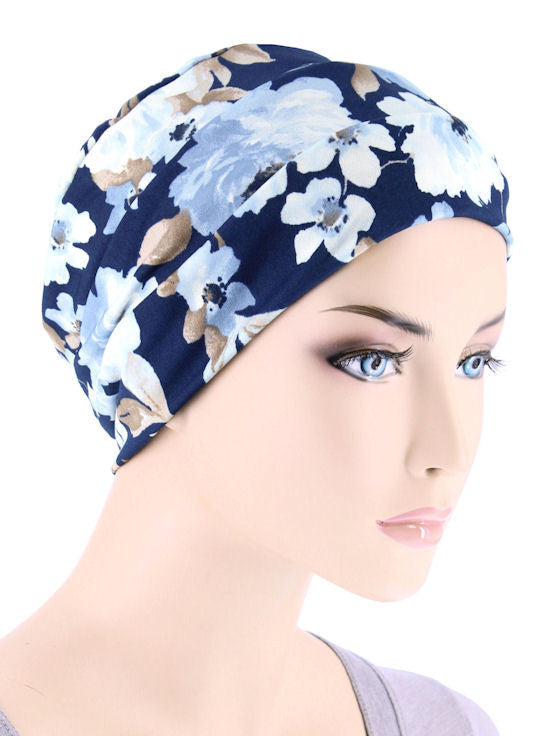 CKC-127#Chemo Cloche Cap in Navy Blue Watercolor Floral